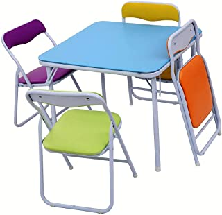 Lucky-gift - Set of 5 Multicolor Kids Table and Chairs - Table and Set Kids Chairs Multicolor 4 Chair - Children Multi Color Toddlers Play Toddler Wood Activity 5 Furniture Desk