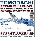 Lachsöl Hund, BARF Zusatz für Hunde, kalt gepresst, Premium Lachsöl, Naturprodukt, extrem hoher Gehalt an essentiellen Fettsäuren, Omega 3 Lachsöl, Tomodachi Premium Lachsöl für Hunde, 10 L Kanister
