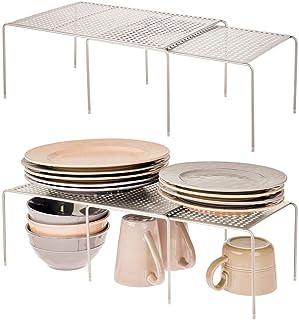 mDesign Juego de 4 estanterías metálicas para armarios de Cocina – Estante para vajilla de Metal – Amplía la Superficie de...