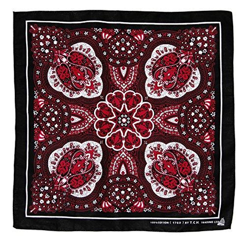 Tuch Schwarz Rot Weiß Paisley Muster Kopftuch Bandana Halstuch Biker Sport Kopfbedeckung Einseitig Bedruckt