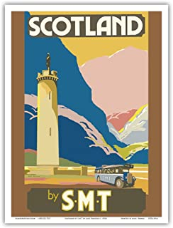 Scotland by S.M.T (Scottish Motor Traction) - Glenfinnan Monument Tower - Loch Shiel - Vintage World Travel Poster by Jack Peacock c. 1920s - Master Art Print - 9in x 12in