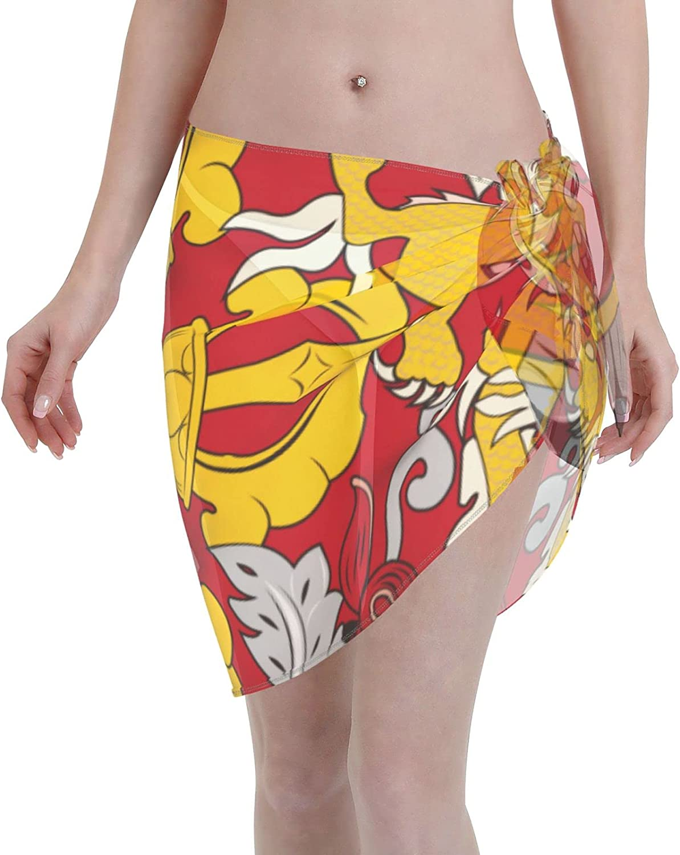 Flag of Bhutan Women Short Sarongs Beach Wrap, Beach Cover-Ups High Waisted Wrap Skirt with Slit,Sexy Sheer Swimsuit Bikini Wraps Chiffon,Soft Scarf for Swimwear Black