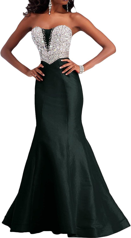 DressyMe Women's Slim Mermaid Evening Dresses Strapless Beaded Satin