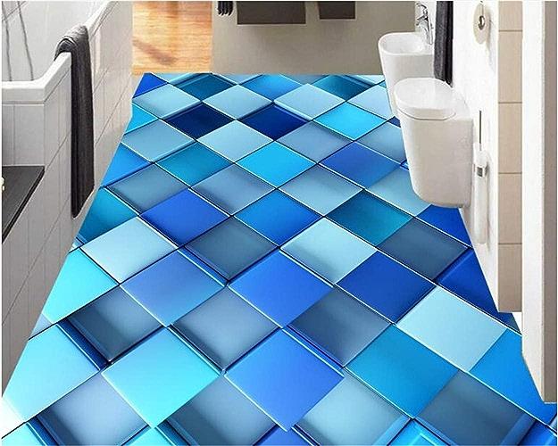 NIXI Stickers muraux Papier peint Intérieur avancé Papier peint intérieur abstrait bleu dynamique voitureré 3D plancher Art Sticker Mural,400  280cm,
