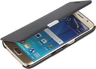 Samsung S6 Edge ケース, Galaxy S6 Edge ケース, [MTRONX] 軽量 超薄型 超耐磨 最軽量 手帳型 マグネット式 レザーケース サムサン Galaxy S6 Edge 対応 専用 Samsung Galaxy S6 Edge カバー [ブラックBlack](MG-BK)