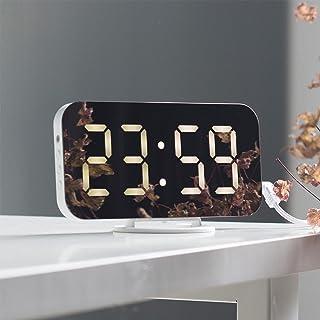 Livole 目覚まし時計 置き時計 デジタル時計 LED大画面 設置簡単 USB給電 3段階調光 2台スマホ充電可 卓上 壁掛け両用 おしゃれ時計 メタル台座 部屋/オフィス/台所用 (白・白字)