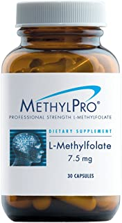 MethylPro L-Methylfolate 7.5 mg - 7500 mcg Professional Strength 5-MTHF for Homocysteine Methylation with No Fillers, More Effective Than Folate, Non-GMO + Vegan (30 Capsules)