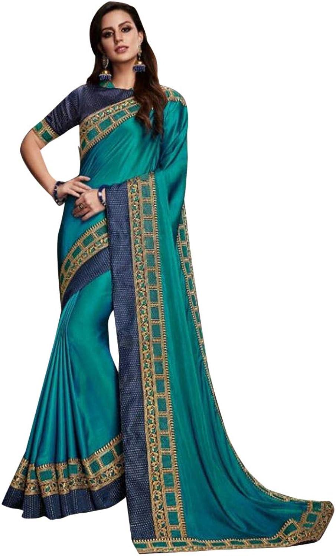 bluee Plain Border Saree Designer Blouse Party Sari 7493