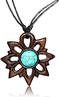Best Adjustable Turquoise Pendant Necklace with Organic Wood - Turquoise Jewelry for Women - Western/Pocahontas Vintage Delicate Turquoise Necklaces Review