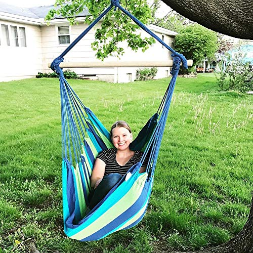 Blissun Hanging Hammock Chair, Hanging Swing Chair with Two Cushions, 34 Inch Wide Seat Blue & Green Stripes