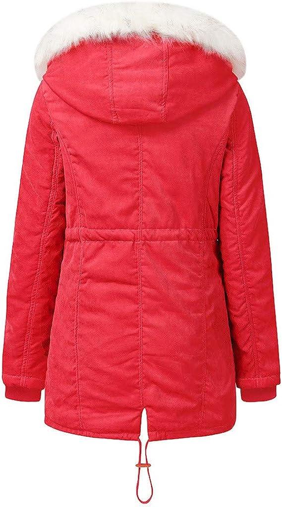 QIMANZI Mantel mit Kunstpelz Damen Winter Jacke Teddy Winterjacke Parka Mantel Langarm einfarbig Kapuze Baumwolle gepolsterte Mantel Oberbekleidung C Rot