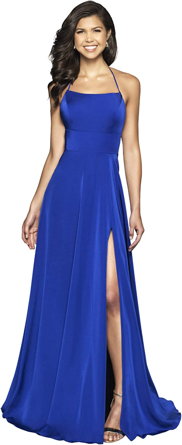 Beauty Bridal Women's Split Prom Dresses with Pockets A Line Long Evening Formal Gowns Z40