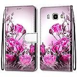 i-Case Etui en PU Cuir Coque pour Samsung J7 2016 Flip Folio Housse Magnétique Bouquet de Roses...