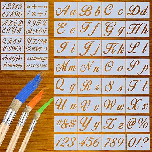 40 Stück Wiederverwendbare Kunststoff-Schablonen Buchstaben Schablonen in Kalligraphie Schriftart Nummer Zeichen Vorlage mit 3 Holzschablonen Pinsel für Malerei auf Holz DIY Handwerk, 160 Designs