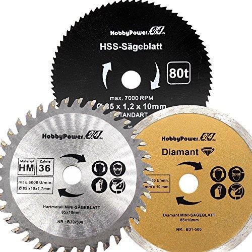 3 Stück Sägeblätter Mini Handkreissäge HM Holz HSS Kunststoff/Diamant Trennscheiben Fliesen 85 x 10 mm für Skil 5330 AA