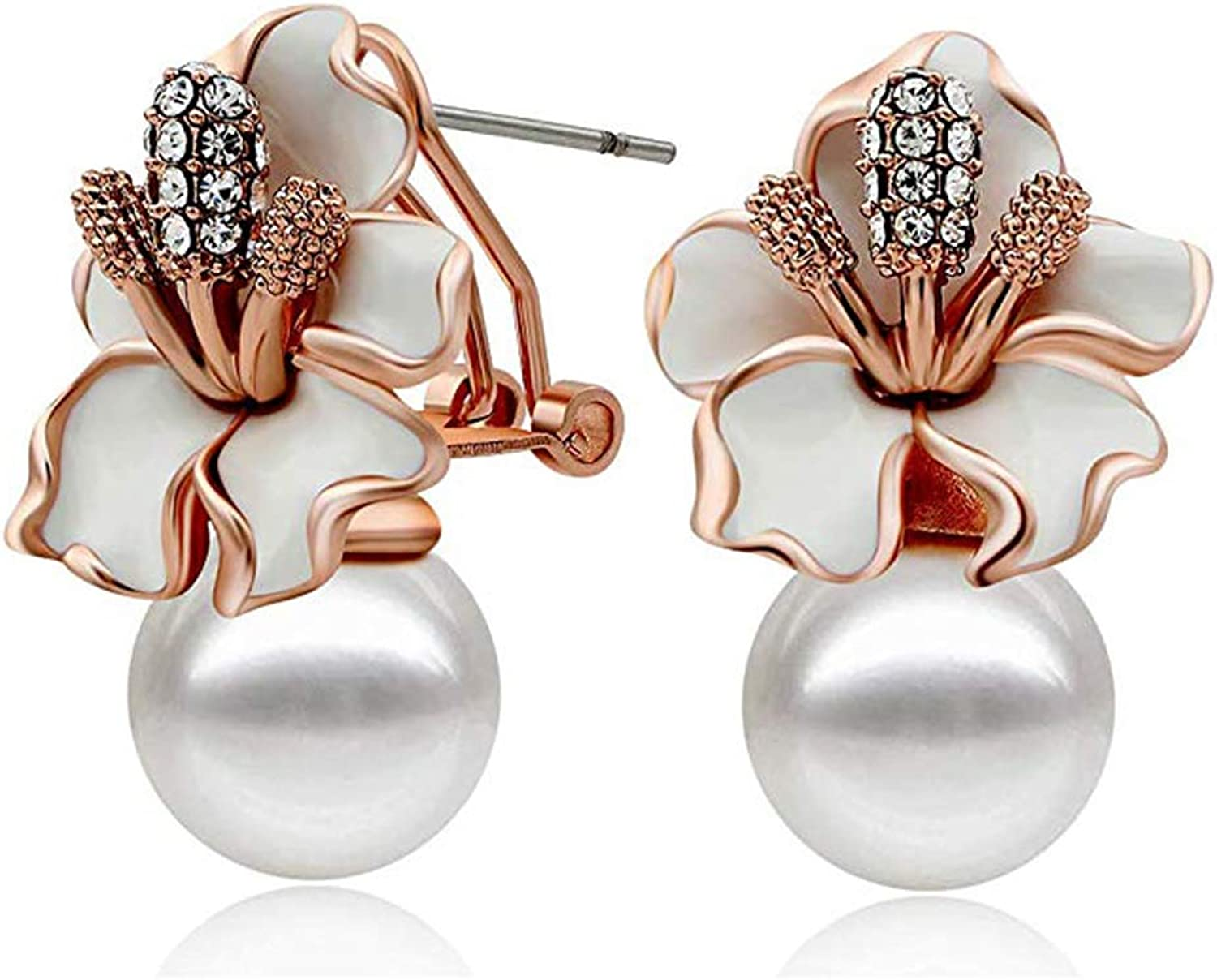 pink gold Silver Plated Pearls Flower Stud Earrings for Women