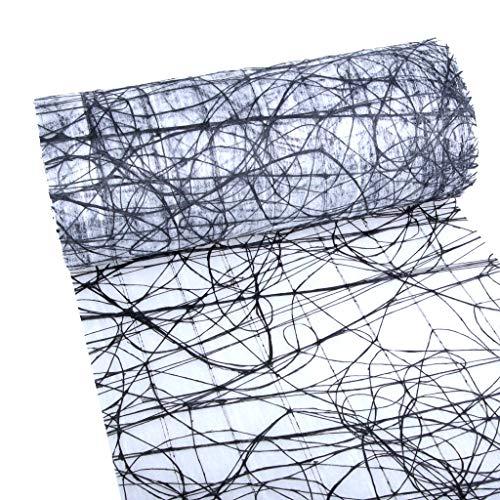 Dekoweb® tafelloper - tafelband - zwart-wit - 30 cm breed - 15 m lang + 100 gespiegelde decoratieve harten gratis - 54-300-15-016