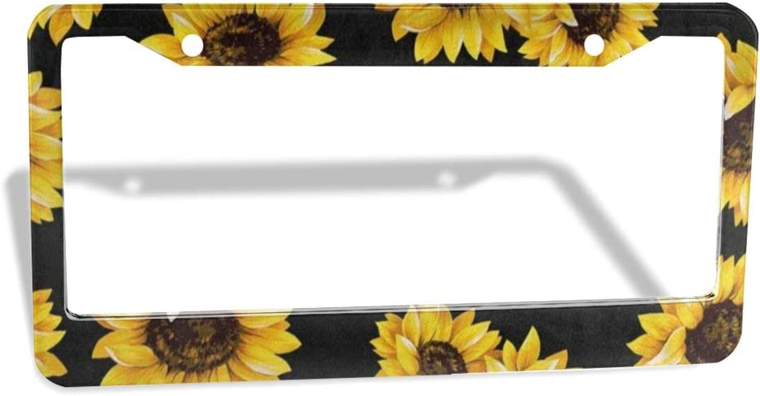Shabby Chic Floral Sunflower License Plate Frame Metal 2 Pack Aluminum Custom License Plate Cover 2 Hole Frame Standard Non Anti-Theft Model for Cars Womens 12 x 6