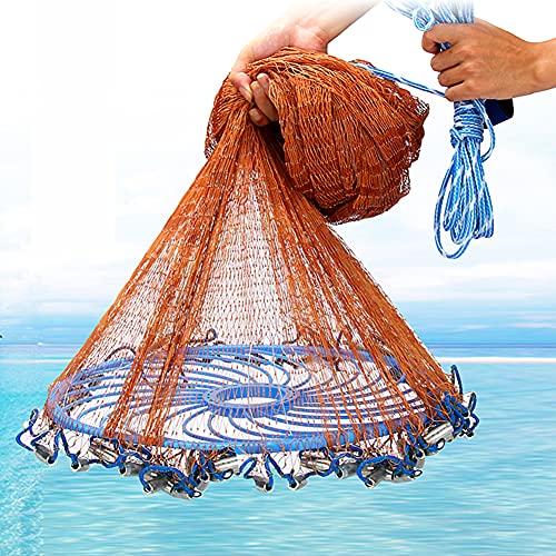 FFYUE Red De Lanzamiento Manual De Frisbee, Red De Pesca De Disco Tejida A Mano, Red De Lanzamiento Giratoria, Camarones Y Cangrejos De Pesca De Mar Poco Profundo,480