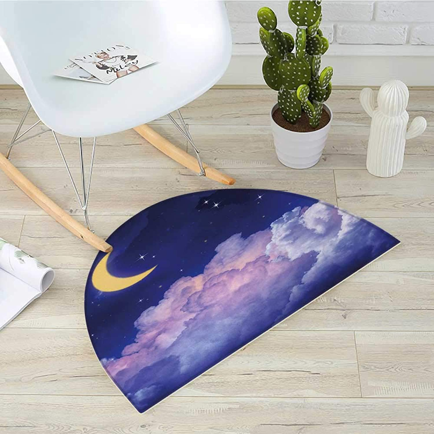 Moon Half Round Door mats Cloudy Sky Illustration of The Moon and Stars in The Night Cosmic Universe Print Bathroom Mat H 31.5  xD 47.2  Yellow Purple