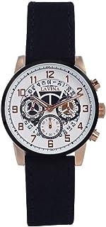 ساعة يد للرجال بمينا لون أبيض وعرض انالوج وسوار من الجلد من لافينا