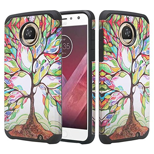 Motorola Moto Z2 Force Case,[Shock Absorption/Impact Resistant] Hybrid Dual Layer Armor Defender Protective Case Cover for Moto Z2 Force - Colorful Tree