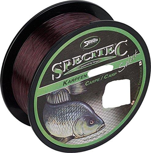 Specitec Karpfen - Sedal de pesca (0,30 mm de diámetro, ideal para carpa), color marrón