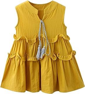 Hut Set KIMODO Baby M/ädchen Blumendruck Ger/üscht Rundhals Kleid /Ärmellose Urlaub Sommerkleid Kleinkind Prinzessin Kleidung Outfit