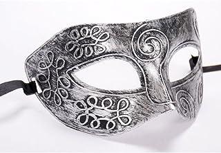 🍀Libobo🍀Retro Roman Gladiator Halloween Party Facial Masquerade Mask - Silver