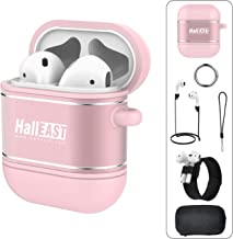 HALLEAST AirPods Case, Air Pods Accessories Protective Cover Skin Holder Silicone Metal for Apple Airpod Charging Case with Keychain, Straps, Slap Bracelet, Hard Case, 6 in 1, Rose Gold
