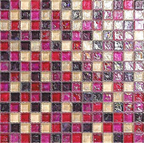 Glas Mosaik Fliesen Matte in Pink Rosa Perlmutt Farben mit Wirbel Glass Optik (MT0027)