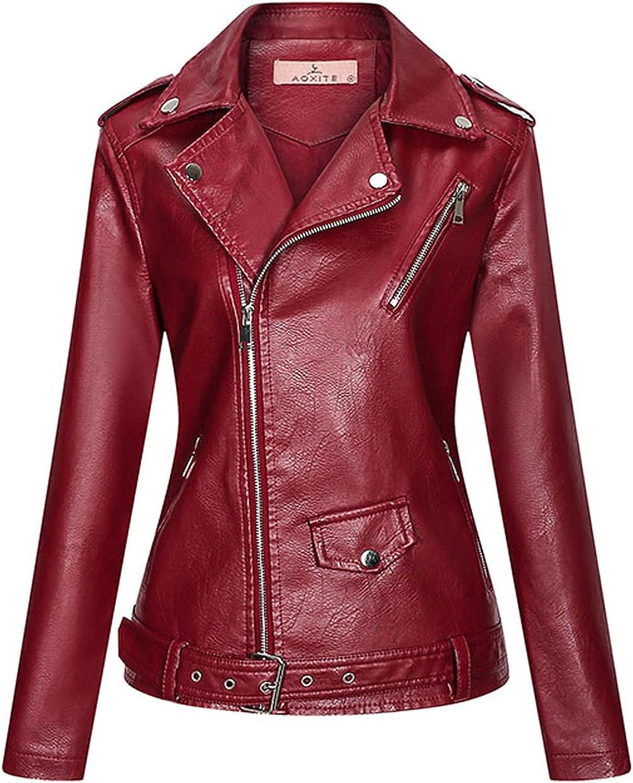 Women's Faux Leather Motor Biker Short Coat Jacket Lapel Zip Punk Cropped Outerwear Top