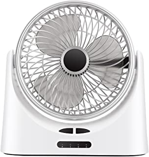 USB Desk Fan Rechargeable Personal Quiet Table Cooling Fans with LED Lamp for Office Home