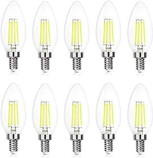 Yaeer E14 LED Light Bulbs 4W Clear Candle Bulbs,Cold White 6500K Candelabra Bulb,Non Dimmable,LED Filament Bulbs,10-Pack