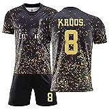 EWDS Conjunto de Uniforme fútbol para Hombres, para Ramos 4 Kroos 8, Uniforme de fútbol para niños, Uniforme de fútbol para Hombres, Camiseta + Pantalones Cortos + Calcetines 26 8#