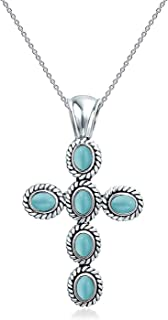 Southwestern Style Stabilized Turquoise Rope Bezel Set Cross Pendant Necklace For Women 925 Sterling Silver