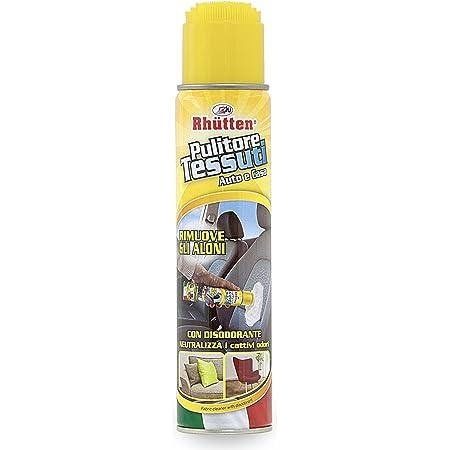 Rhütten, Pulitore Schiumogeno per la Pulizia dei Tessuti, Dotato di Spazzola per l'Applicazione del Detergente, Prodotto ad Azione Disodorante, per Interni dell'Auto, Tappeti, Poltrone, 400 ml
