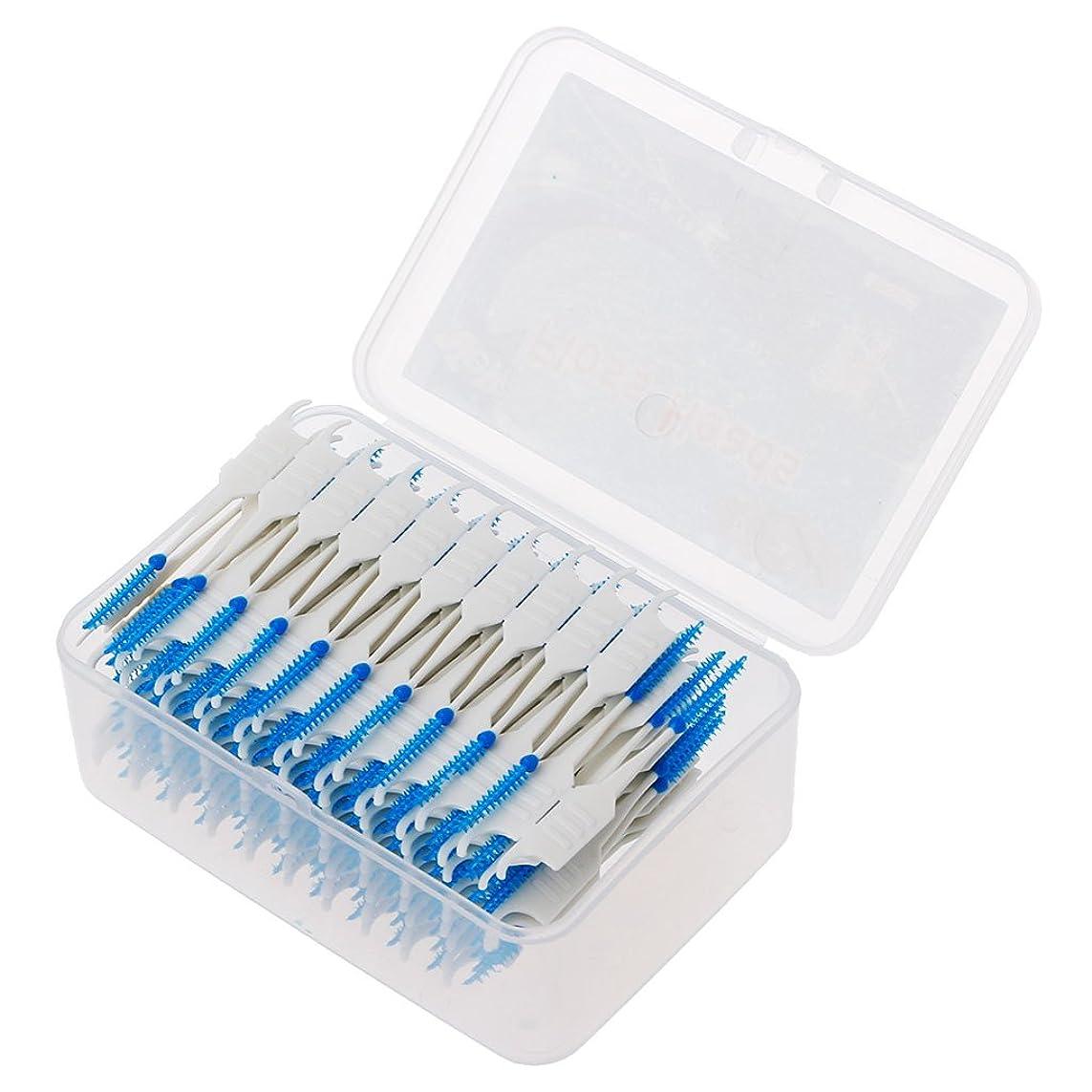 アカデミー消費するお酒Yblings 20-200ピースダブルフロスヘッド衛生歯科用シリコン歯間ブラシつまようじ