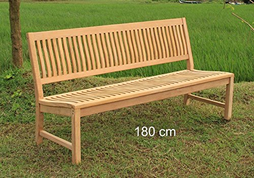 LINDER Stabile Gartenbank Kingsbury in Premium Teak ohne Armlehne 180 cm