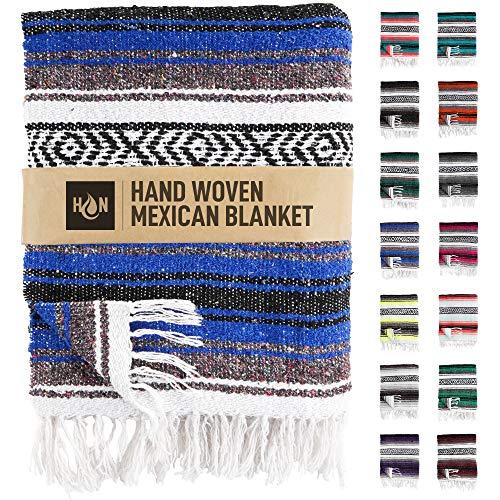 Handgefertigte mexikanische Decken, handgewebte Serape-Decke, authentische Falsa-Decke, ideal als Stranddecke, Campingdecke, Picknickdecke, Outdoor-Decke, Boho-Überwurf, Kingblau