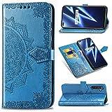 LMFULM® Hülle für Realme 6 Pro (6,6 Zoll) PU Leder Magnet Brieftasche Lederhülle Mandala Prägung Design Stent-Funktion Ledertasche Flip Cover Blau