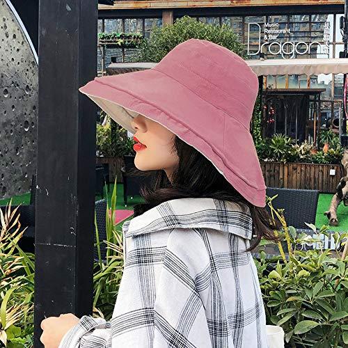 mlpnko Big Sonnencreme weiblichen Hut Faltbare Baumwolle Leinen Hut tragen Visier Fischer Hut Sonnenhut Leder Pulver Code