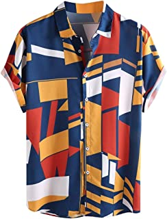 IHGTZS Men's Shirts, Contrast Color Geometric Printed Turn Down Collar Short Sleeve Loose Shirts