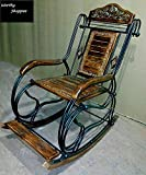 Worthy Shoppee Wooden & Iron Rocking Chair (Multi-Color)...