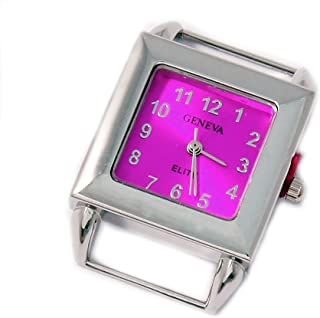 Geneva Elite Ribbon Bar Sunray Pink Square Watch Face for Beading, Approx 26x26x8mm