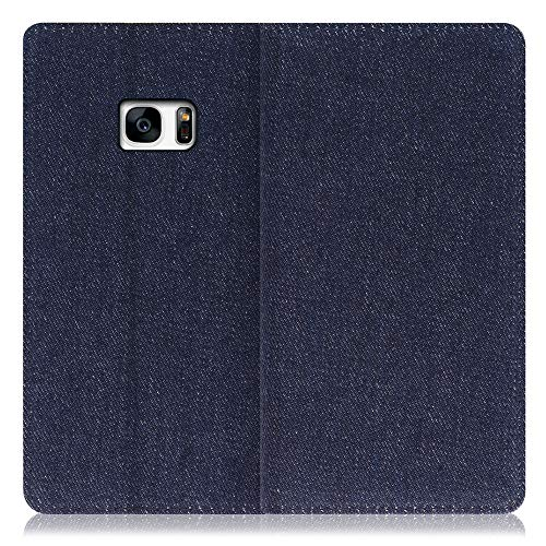 LOOF Denim Galaxy S7 edge/SC-02H / SCV33 ケース 手帳型 カバー スマホケース デニム生地 横入れ カード収納付 スタンド機能付 パス入れ 手帳型ケース 手帳型カバー ベルトなし おしゃれ シンプル ブランド (ブル