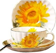 Fine Bone China Sunflower Vintage Chintz Porcelain Coffee Mug Tea Cup with Saucer