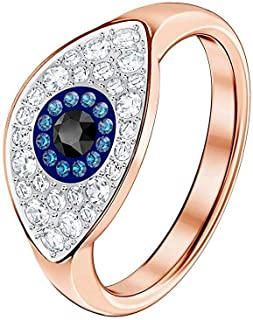 Duo Evil Eye Ring Multi-Colored Rose Gold Plated