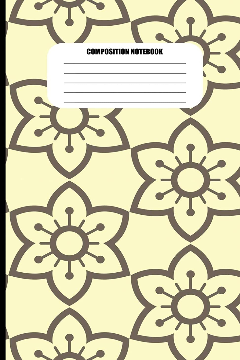 食事を調理するクラック驚いたComposition Notebook: Flower Fractal Pattern in Brown on Light Yellow (100 Pages, College Ruled)
