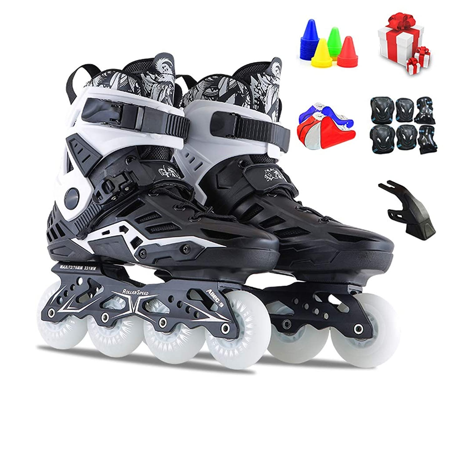 正確な火山学映画インラインスケート スケート用の成人プロのインラインスケート靴、高性能スピードスケート靴の単列スケート靴、34から44ヤードのオプション (Color : Black, Size : EU 39/US 7/UK 6/JP 24.5cm)